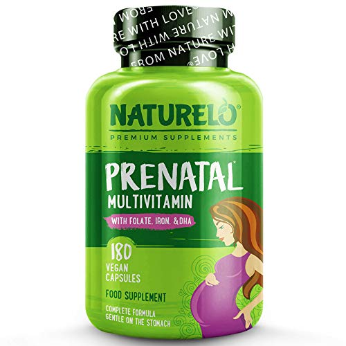 NATURELO Prenatal Multivitamin with DHA, Natural Iron, Folate, Plant Calcium - Vegan, Vegetarian - Non-GMO - Whole Food - Gluten Free - 180 Capsules | 2 Month Supply