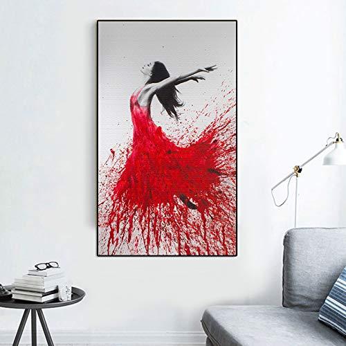 Geiqianjiumai Moderne wandkunst aquarell ölgemälde Abstract Print Dance Girl wandbild Wohnzimmer Dekoration rahmenlose malerei 30x40 cm