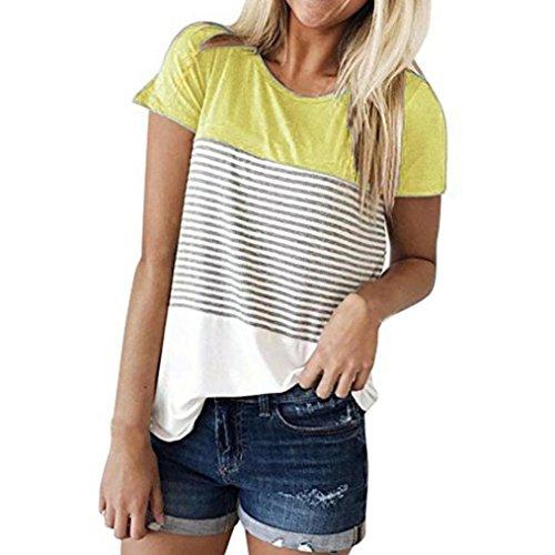MRULIC Damen gestreifte kurze hülsen-t- shirt gelb 16 uk