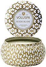 product image for Voluspa Suede Blanc 2 Wick Metallo Tin Candle, 11 Ounces