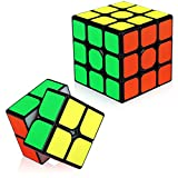 TOYESS Speed Cube Set Cubo de Velocidad 3x3 Stickerless+Cubo Mágico 2x2, Rompecabezas Puzzle Juguetes para Adulto & Niños(2 Pack)