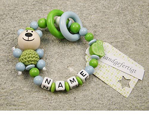 Baby Greifling Beißring geschlossen mit Namen - individuelles Holz Lernspielzeug als Geschenk zur Geburt Taufe - Jungen Motiv Bär und Auto in grün