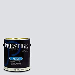 Prestige Paints E100-P-SW6532 Exterior Paint and Primer in One, 1-Gallon, Flat, Comparable Match of Sherwin Williams Aura White, 1 Gallon, SW06-Aura