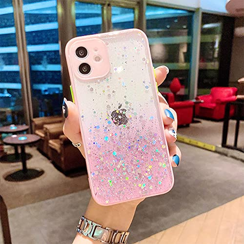 GGOIl Estuche de Lujo Bling Glitter para iPhone 11 12 Mini Pro MAX Estuche para teléfono a Prueba de Golpes para iPhone XS MAX XR X XS 6s 7 8 Plus, Rosa, para 6 Plus 6S Plus