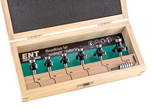 Preisvergleich Produktbild ENT 09002 6-tlg. HW Abrundfräser und Viertelstabfräser Kombi-Set mit 2 x 6 Kugellager für - R 2-3 - 4-6 - 8-10 mm - Schaft Ø 8 mm - Kugellager für Abrundfräser vormontiert.