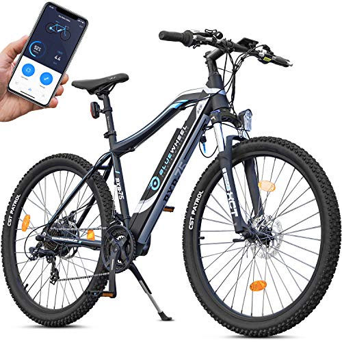 Bluewheel 27,5 / 29 inch innovatieve e-bike 14,4 / 16Ah -Duits kwaliteitsmerk- EU-conforme pedelec met app, 250W motor, lithium-ion-accu, elektrische fiets BXB75 met Shimano 21 versnellingen derailleur, alu frame E-MTB