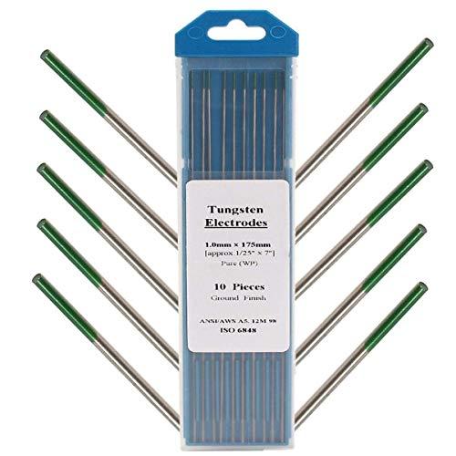 YELLAYBY Soldadura Kit 10Pcs 1 mm x 175 mm Verde Tip electrodos de tungsteno Puro for Soldadura TIG