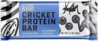 Exo Cricket Flour Protein Bars, Blueberry Vanilla, 12Count, 10g Protein, Paleo Friendly, Gluten free, High Fiber, Dairy Free Energy Bars