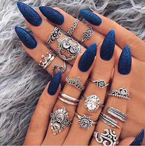 ROSETOR 15 Pcs Elegant Vintage rings for Women Joint Knuckle Ring Set Vintage Punk Silver Rings (Silver)