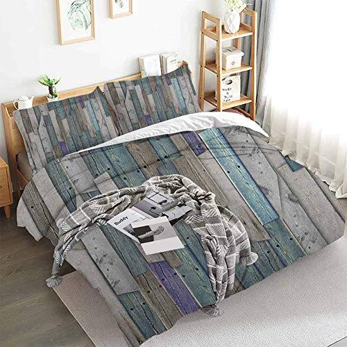 Aishare Store - Juego de funda de edredón de madera, diseño de granero, color azul, gris, madera y uñas, diseño gráfico de madera dura, 3 piezas con 2 fundas de almohada, color gris y azul