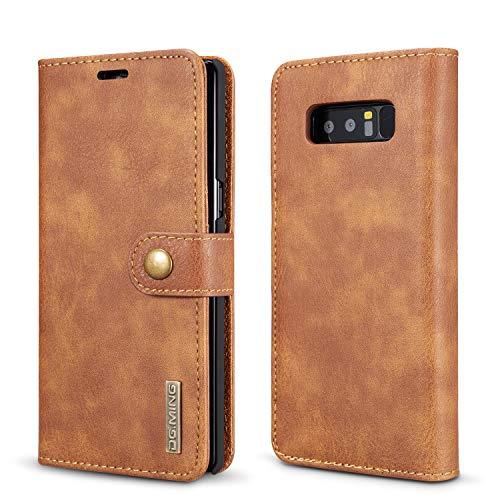 liyuzhu Para Samsung Note 8 Flip Cover Luxury with Tarjeta Slot Wallet Teléfono Magnético Cajas de Cuero (Color : Marrón)