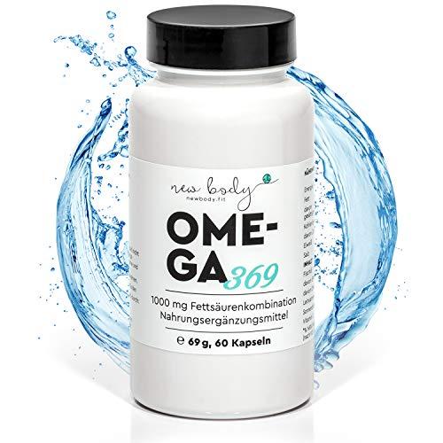 new body® OMEGA 369 Kapseln - 1000 mg - Eine Kombination aus Fisch-, Leinsamen- und Sonnenblumenöl liefert wichtige Nährstoffe für ein gesundes Wohlbefinden und Ergänzung bei Sport & Abnehmen