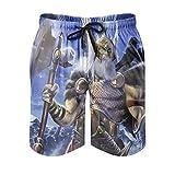 kikomia Bañador para hombre Fantasy vikingo Odin guerrero, hacha y lobo, estampado psicodélico, ropa de playa con bolsillos, color blanco, L