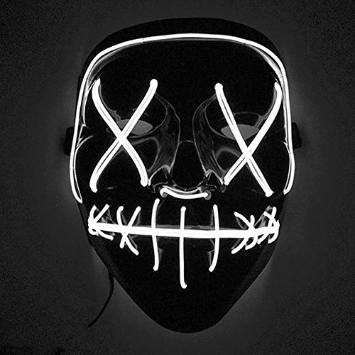 Sxgyubt Mscara de Halloween aterradora mscara de luz LED para festivales, cosplay, disfraz de Halloween, luz blanca, juego de roles, diversin decoracin de fiesta de Halloween