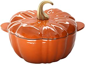 Stock Pot, Pumpkin-shaped Cast Iron Pot, Enamel Soup Pot, 24cm- Household Pig Iron Safe Saucepan with Lid, Enamel Stew Pot...