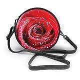 TURFED Agua Red Rose Bolsos cruzados redondos Bolso de hombro Correa de cadena de cuero PU ajustable y cremallera Bolso pequeño Bolso redondo para teléfono celular Asa-I6