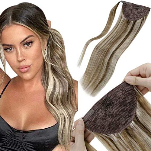 LaaVoo Cheveux Ponytail Extensions 20Pouce #8P60 Highlight Marron Clair Mixed Blond Platine 100g Véritable Queue De Cheval D'extension 50cm Attached with clips and Velcro