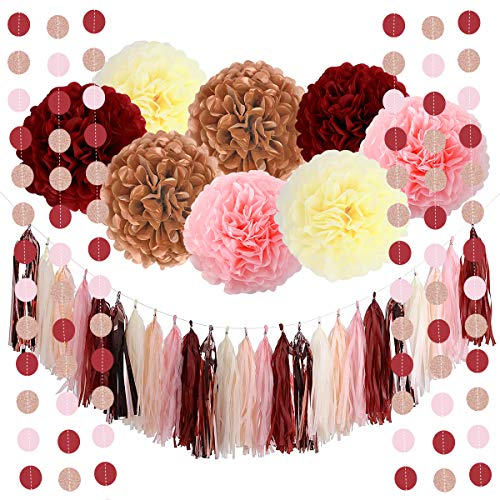 Monkey Home 39pcs of Bachelorette Party Decorations Burgundy Glitter Rose Gold Blush Pink Ivory Tissue Paper Flowers Tassel Garland Wedding Bridal Shower Maroon Party Decorations