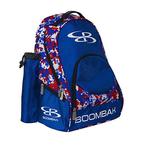 "Boombah Tyro Baseball / Softball Bat Backpack - 20"" x 15"" x 10"" - Camo Royal Blue/Red - Holds 2 Bats up to Barrel Size of 2-5/8"""