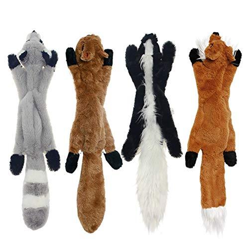 QIANMA Juguetes Cachorro 4pcs/Lote 2020 Nuevos Juguetes Lindos De Felpa Chirrio Mascota Lobo Conejo Animal De Felpa Perro De Juguete Chew Chirriante Silbido Involucrado Ardilla Perro Juguetes