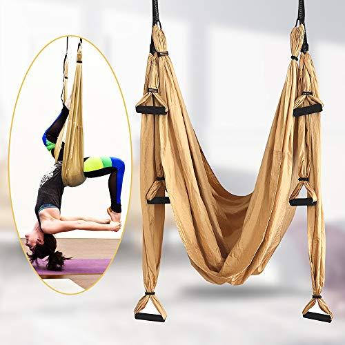 TTLIFE Juego de Hamaca aérea para Yoga, Que Incluye 4 mosquetones con Bordes Lisos, inversión de Yoga antigravedad para el hogar, Gimnasio, al Aire Libre