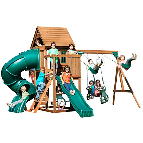Swing-N-Slide Tremont Tower Play Set with Two Slides, Two Swings, Glider, Picnic Table, Telescope and Climbing Wall