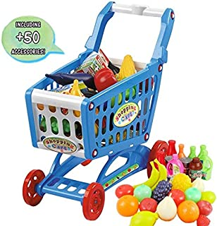 deAO Children Shopping Cart Trolley Play Set Includes 78 Grocery Food Fruit Vegetables Shop Accessories (Blue)