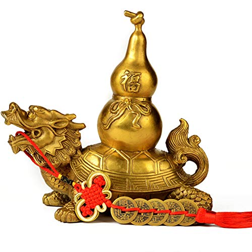 J.Mmiyi Feng Shui Latón Adornos Tortugas De Dragón con Calabaza Estatua Riqueza Porsperity Longevidad Figura Decoración del Hogar Regalo,Oro