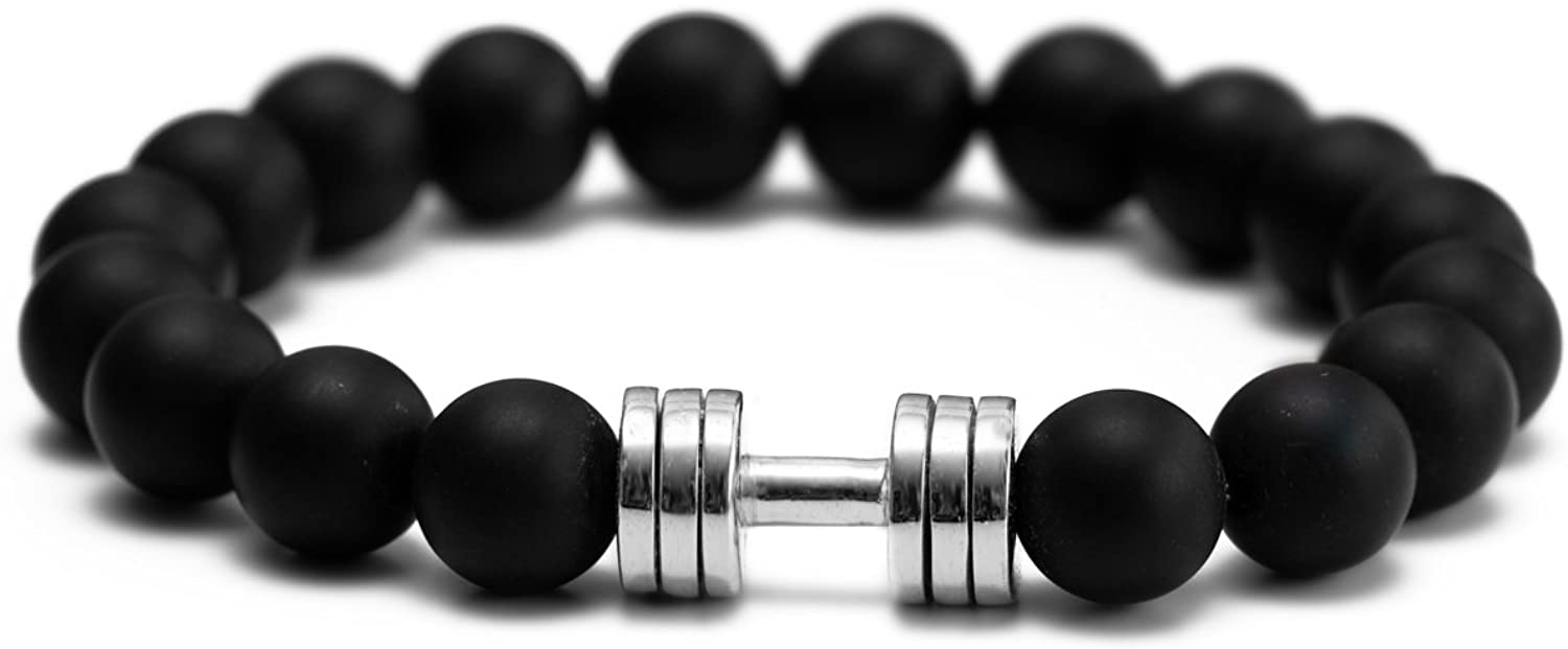 Matte Onyx Dumbbell Bracelet Rhodium Gym Ranking Selling TOP10 Fitness Jewelry Plated