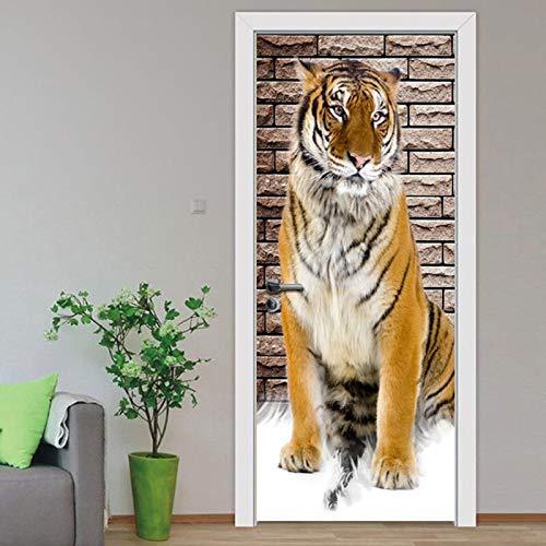 Atiehua Diy Renovierung Wandbild Wasserdicht Selbstklebende Tiger Tier Schlafzimmer Tür Aufkleber Drucken Bild Home Decor Art Poster Wallpaper