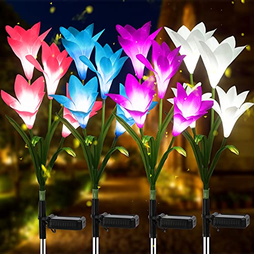 URPOWER Solar Lights Outdoor, Upgraded Realistic Solar Garden Lights Outdoor, Waterproof 7-Color Changing Lily Solar Flower Lights with Bigger Solar Panel for Patio, Garden, Yard Decoration (4 Pack)