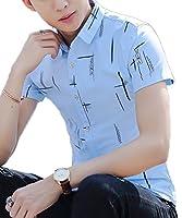 Heaven Days(ヘブンデイズ) シャツ 半袖 カジュアルシャツ ラインプリント メンズ 1805D1082