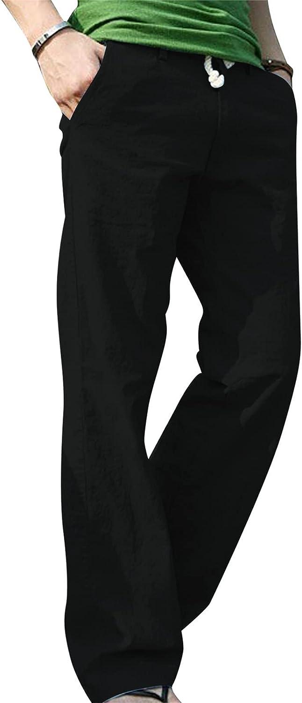 Huangse Mens Linen Yoga Pants Loose Casual Summer Beach Pants Lightweight Elastic Waist Drawstring Long Pant Wide Leg Trouser