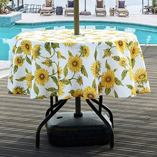 Lamberia Round Tablecloth with Umbrella Hole and Zipper for Patio Garden, Outdoor Tablecloth Waterproof Spill-Proof Polyester Fabric Table Cover (60' Round, Zippered, Sun Flower)