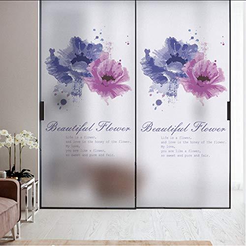 Djkaa raamfolie van frosted glas, statisch cling home decor raamdecoratie, plakfolie, van gekleurd glas, polyethyleen 60*90cm(23.62*35.43 Inch)