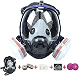 FNWD 17 in 1 Full Face Respirator, Reusable Protective Face Cover with Adjustable Strap Widely Used in Organic Gas, Anti-Dust, Paint Sprayer, Chemical, Woodworking (Eye Protection)