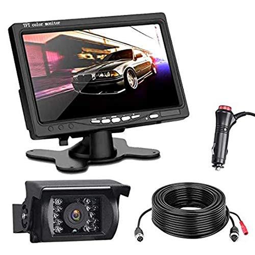 Kit de cámara de marcha atrás y monitor con cable, pantalla LCD TFT de cámara de marcha atrás de visión nocturna de 7 pulgadas, conjunto de monitor de cámara de marcha atrás para Bus/Camión/remolque