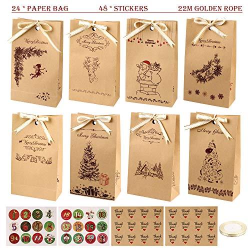 GIKPAL Geschenktüten Weihnachten, Adventskalender zum Befüllen 24 Kraftpapiertüten mit 48 Adventskalender Sticker Geschenktüten Set für Weihnachts Geschenk 22 x 13 x 6 cm