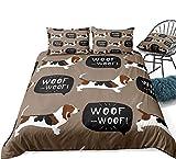 zpangg Juego de Cama para Perros Basset Hound Juego de Funda nórdica para Perros Punto marrón Funda para edredón para Mascotas Ropa de Cama para Animales de Dibujos Animados Dorpshipping