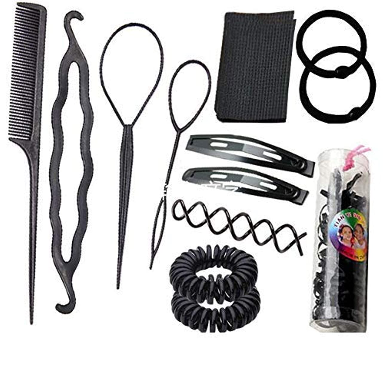 値する経済港1 Set Black 13 in 1 Hair Style Making Accessories Kits Hair Comb Metal Hairpins Hair Tools Hair Ropes Fringes Hair Pads Hair Pins Updo Hair Tools DIY Hairdressing for Home Use [並行輸入品]