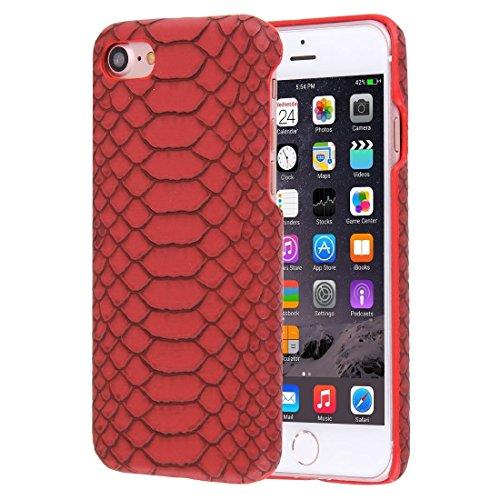 FATEGGS Accesorios para teléfonos móviles para iPhone 7 Snakeskin Texture Paste P PC Funda de PC Casos Cubre (Color : Red)
