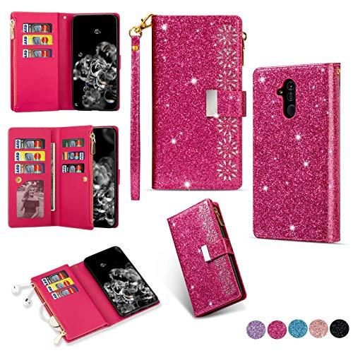 Miagon Reißverschluss Brieftasche Glitzer Hülle für Huawei Mate 20 Lite,Flip Handytasche mit 9 Kartenfächer Handschlaufe PU Leder Magnet Bling Multifunktions,Rose Rot
