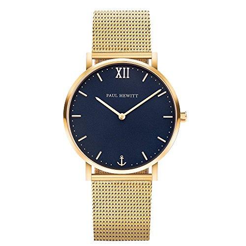 PAUL HEWITT Armbanduhr Edelstahl Sailor Line Blue Lagoon (Damen und Herren) - Uhr mit Edelstahlarmband (Gold), Goldene Armbanduhr, blaues Ziffernblatt