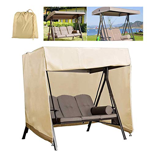 HEWYHAT Patio Swing Cover, Outdoor 210D Heavy Duty Triple Seater Hanging Chair Hammock Glider Cover, Waterproof Furniture Shelter,Beige,223×152×183CM