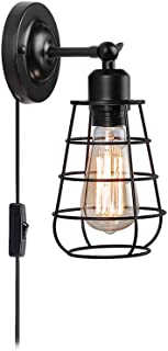 Create for Life 1-Light Plug-in or Hard-Wire Industrial Cage Wall Sconce,Vintage Style Wall Light for Headboard Bedroom Nightstand Porch Bathroom Vanity(ON/Off Switch,6' Cord,Matte Black)