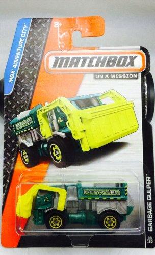 Matchbox 2014 MBX Adventure City Garbage Gulper (Garbage Truck) 98/120, Green and Yellow