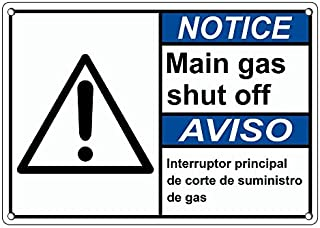 Weatherproof Plastic ANSI Notice Main Gas Shut Off Bilingual Sign with English & Spanish Text and Symbol