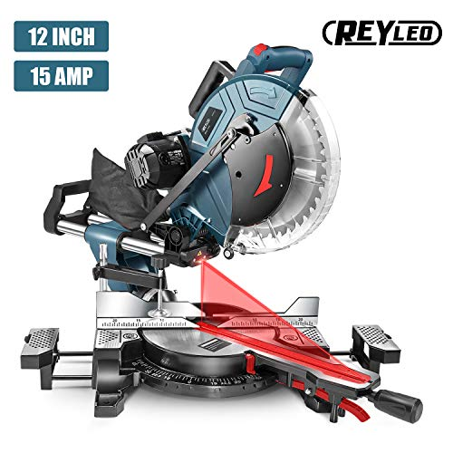 Compound Miter Saw, REYLEO 12-inch, 15Amp Dual-Bevel Sliding Miter Saw with...