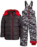 Wippette Little Boys' 2-Piece Heavyweight Snowsuit with Puffer Jacket and Snow Bib Pants (Infants, Toddler & Little Boys), Size 7, Charcoal Camo