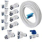 CESFONJER 1/4' Conector Kit, RO Osmosis Inversa Sistema de Filtro Paquete de 12 (Y + T + I + L Combo + Válvula de Cierre) +10 Metros Tubo de Agua Blanco 1/4' (6.3 mm)